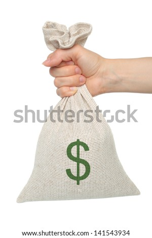 Hand holds bag with money on white background