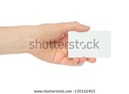 Hand holds business card on white background