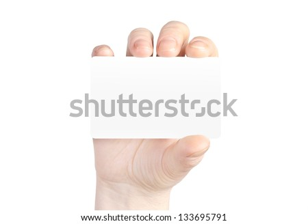 Hand holds business card on white background.