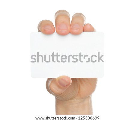 Hand holds charge card on white background