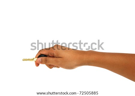 Hand holds out key to the car. Isolated on white background.