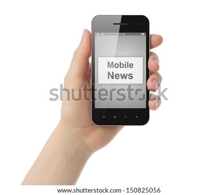 Hand holds smart phone with mobile news button on its screen on white background