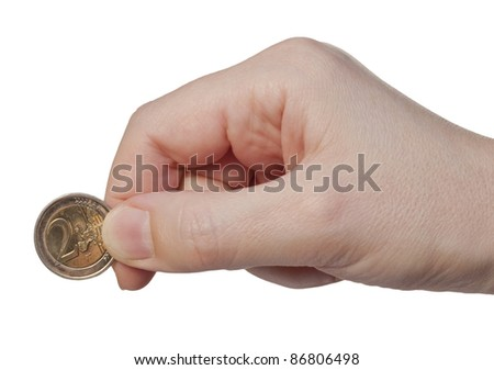 Hand holds the coin 2 euros, isolated on a white background