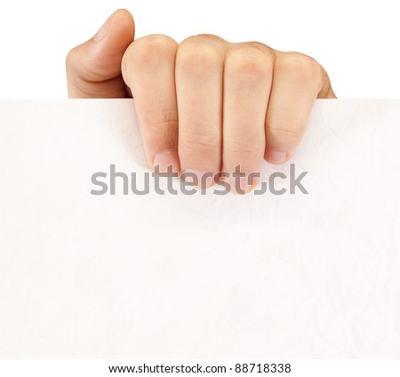 hand holds the sheet