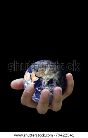 Hand Holidng the Earth -  (Elements of this image furnished by NASA)