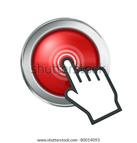 Hand icon over red button