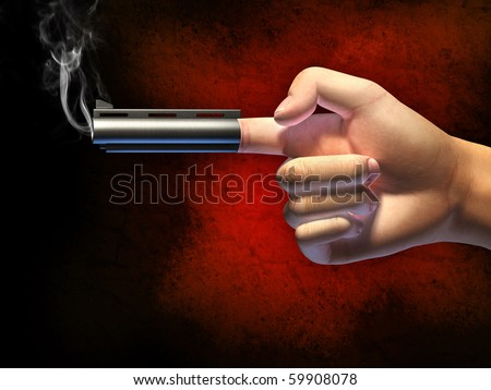 Hand in a typical gun gesture, shooting from its index finger. Digital illustration, clipping path allows to separate hand from background.