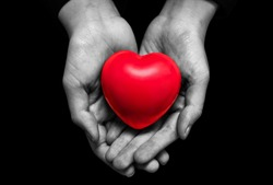 hand in black and white tone holding red heart isolated on black background