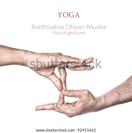 Hand in Bodhisattva dhyan mudra by Indian man isolated at white background. Free space for your text