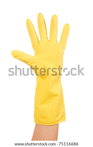 Hand in glove isolated over white background