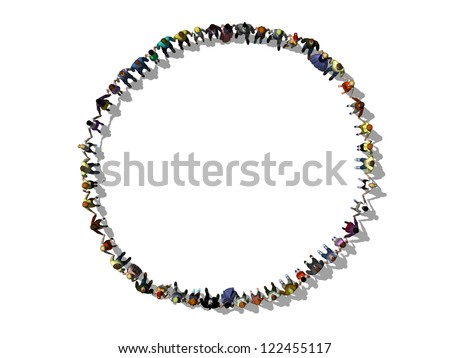 Hand in hand, human chain forms a circle
