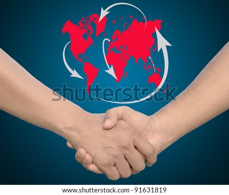 Hand in Hand or handshake with global network