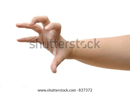 Hand in outstretched and clawing position with fingers wide apart and hooked