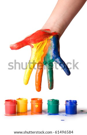 hand in paint - stock photo