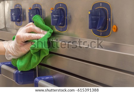 hand in protective glove with...