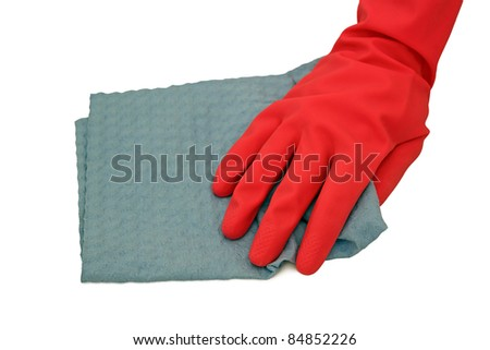 hand in rubber glove cleaning