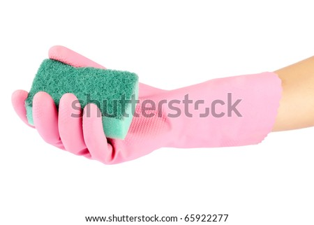 Hand in rubber glove holding a kitchen sponge isolated on a white background