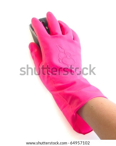Hand in rubber glove with a computer mouse on white background
