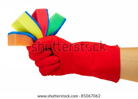 Hand in rubber glove with sponge isolated on white background. Cleaning