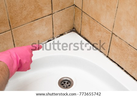 Hand in rubber protective glove pointing to the mold in the shower cabin corner. Problems and solutions concept.