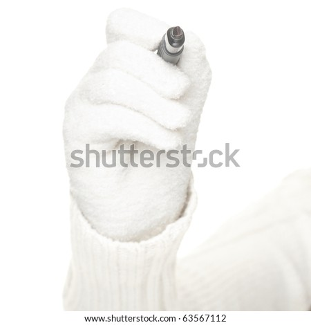Hand in white glove drawing / writing with pen isolated on white background.