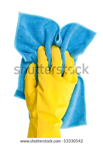Hand in yellow protective glove  with blue duster on white background