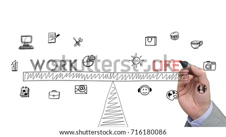 Hand is drawing a sketch of a work life balance concept with icons on white #716180086