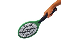 hand is hold Electric mosquito swatter for hit and shock mosquito