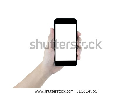 Hand is holding black smartphone, isolated on white background. Clipping path embedded. #511814965