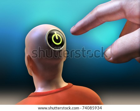Hand is pushing a power button located on the head of a man. Included clipping path to separate main objects from background. Digital illustration.