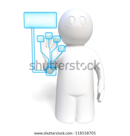 hand is scanned for biometrical identification, on white background
