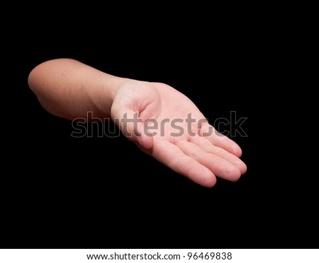 Hand isolated on black background