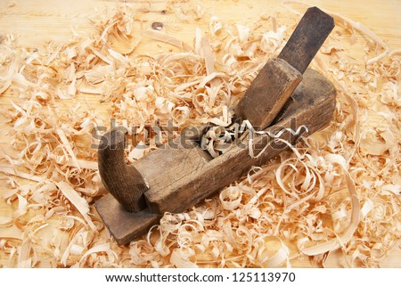 Hand jack plane, wood chips and sawdust