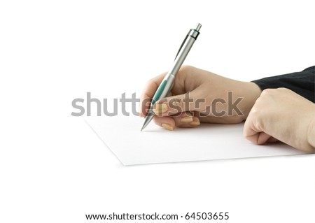 hand keep pen and writing on the page isolated on white