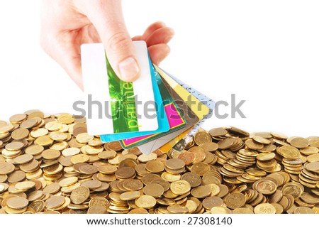 hand keeping several credit cards