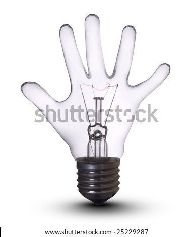 Hand lamp bulb. Lightbulb Concept of Business Success, Saving Energy and Ecology Environment