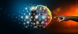 Hand leading global network connection and data exchange with Abstract Background. Communication technology for internet business and social network Concept. Elements furnished by NASA.