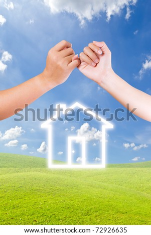hand linking finger and house icon