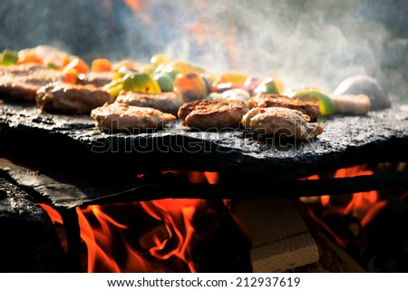 hand made bbq in forest with...