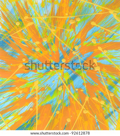 Hand made bright color art picture. Abstract background