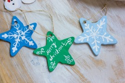 Hand made christmas tree toys.