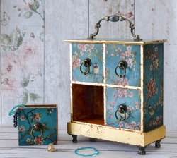 Hand made decoupaged jewellery box in a vintage shabby chic style