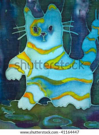Hand made drawing on textile..Blue abstract cat