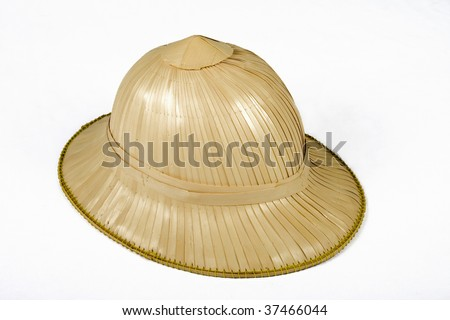 Hand made jungle safari hat over white background