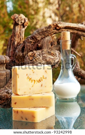 Hand-made lavender soap still life with milk