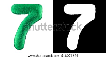 Hand made number 7 Seven from green felt. Set of numbers from colorful felt isolated on white with alpha mask