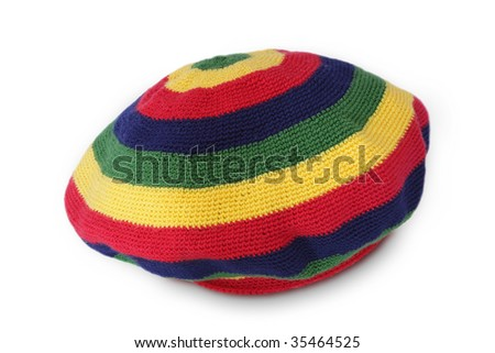 hand made Rasta cap isolated on white