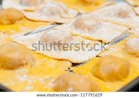 hand made ravioli pasta stuffed with squash and dusted with flour, uncooked