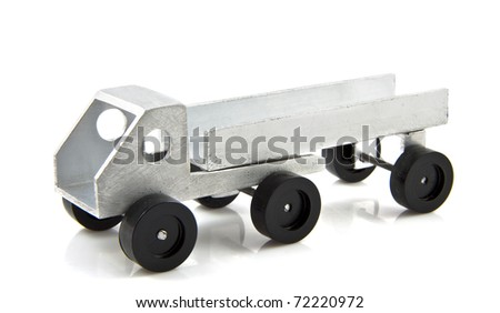 Hand made steel truck isolated over white