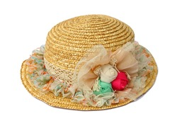 Hand-made straw hat decorated with flowers